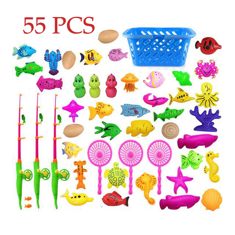 Luxury 55 pcs/ set educational Toddler Kids Baby Magnetic Fishing Pole Tools Bath Toys Summer outdoors indoor Game fish toy
