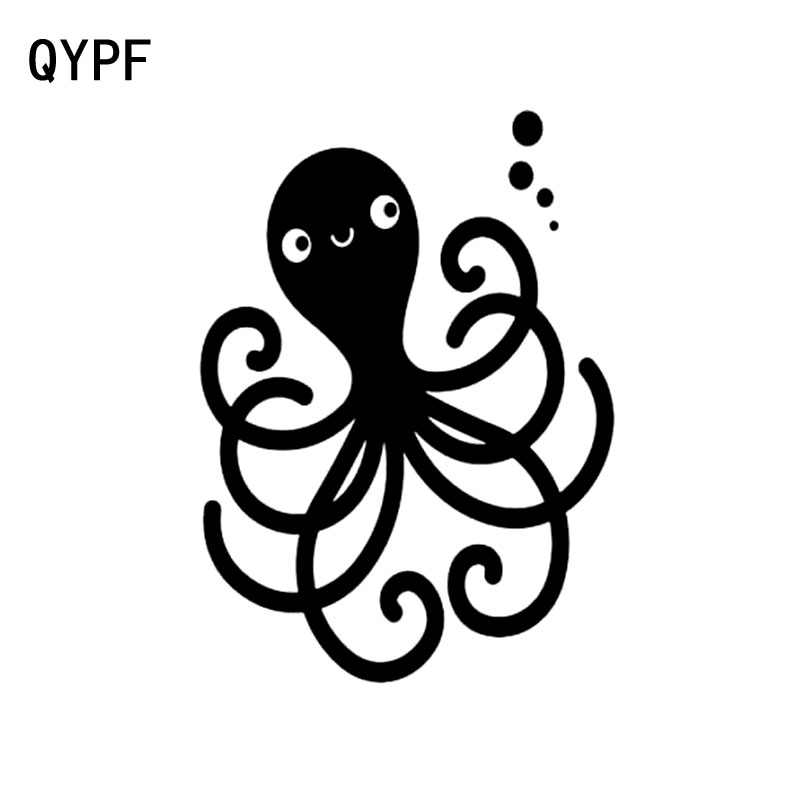 QYPF 13.4cm*17.6cm Waving The Tail And Greying With A Octopus Extraordinary Vinyl Car Window Sticker Black/Silver Decal C18-0231