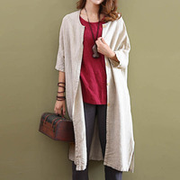 Autumn 2018 Solid Color Tops Women Causal Vintage Cotton Linen Shirt Half Sleeve Loose Plus Size Long Irregular Cardigan Shirts