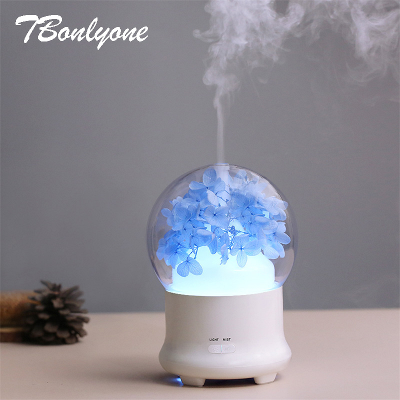 TBonlyone 100ML Flower Lamp Air Humidifier Ultrasonic Aroma Lamp Essential Oil Diffuser for Office Bedroom Baby Room Study Yoga tbonlyone 400ml auto shut off electric ultrasonic air humidifier aromatherapy essential oil aroma lamp diffuser for office room