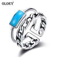 OLOEY Vintage Turquoise Opening Ring For Ladies Real 925 Sterling Silver Woman S Finger Rings Party