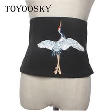 Модные женские туфли ремень Винтаж Вышивка черный широкий ремень для женское платье косплэй ткань поясом Роскошные брендовая Дизайнерская обувь TOYOOSKY