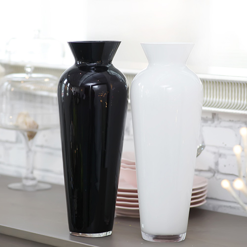 Black And White Glass Vase Flower Floral Device Countertop French