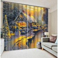 Christmas Snow Under The Sun Stereoscopic 3D Photo Printing Full Blackout Curtains