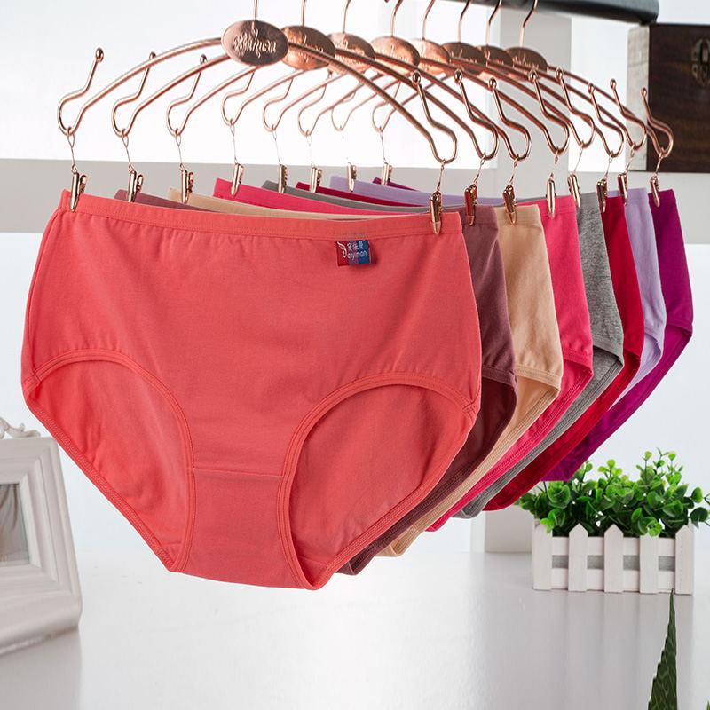 10Pcs/lot Cotton Underwears Women   Panties   Plus Size 5XL Candy Colors lingeries Women's Briefs