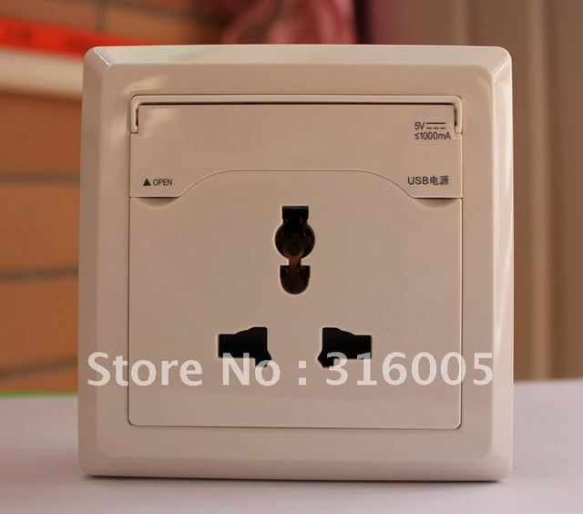 USB Charging Wall socket for mobile phone  mp3,4 player  etc USB products   I 5  free shipping