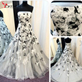 2016 Peito Do Vintage Uma linha Vestido de Casamento de Fadas Até O Chão Tulle Applique Lace Vestidos de Casamento Romântico Flores em Preto e Branco