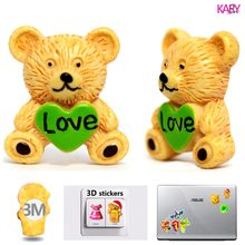 5pcs Color Heart Love Bear 3D Resin Flatback Cabochon Strong Stickers For Laptop Suitcase Wall Phone Car Hair Bow DIY Crafts 003(China)
