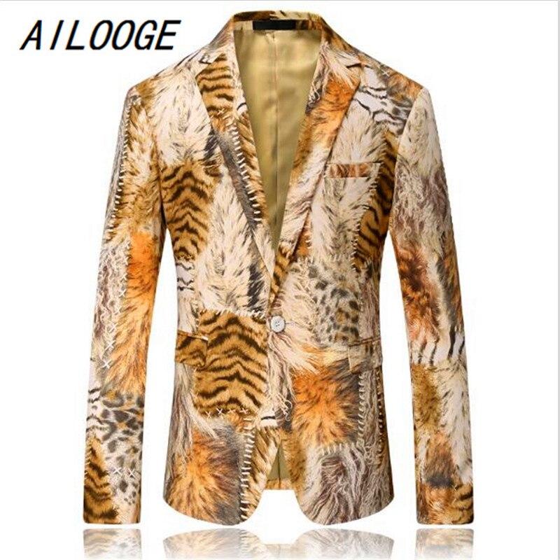 AILOOGE Men Blazer 2017 Tiger Pattern Mens Printed Blazer Coat Design Velvet Suit Jacket Casual Floral Blazers Jacket Stage Wear