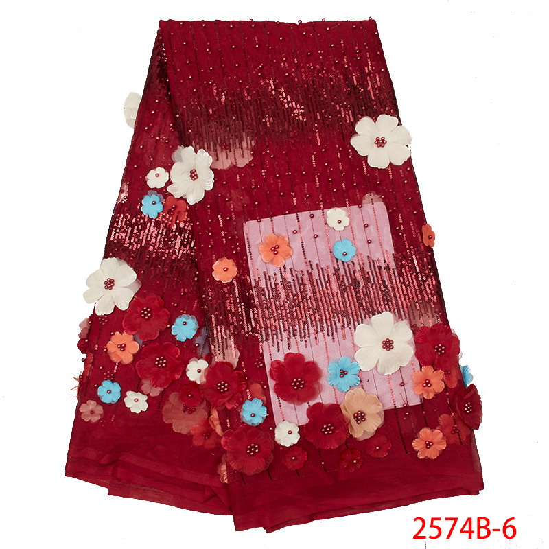 New Style 3D Flower Sfrican Tulle Mesh Lace Fabric 2019 French Net High Quality African Laces Fabrics With Sequins KS2574B-6