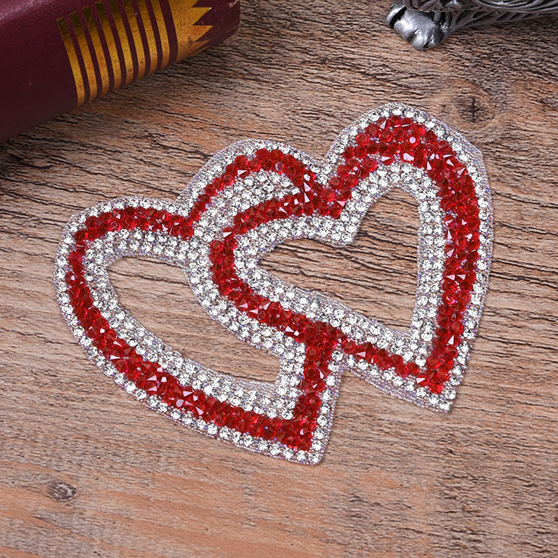 Double Heart Exquisite Rhinestone Stickers Heat Transfers For Clothes DIY Embroidery Applique For T-shirt Clothing Decor (7)