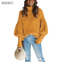 New Fashion Autumn Winter Thick Warm Sweater women Lantern High Neck Pullover Plus Size Jumpers Fall Ladies Christmas Sweater