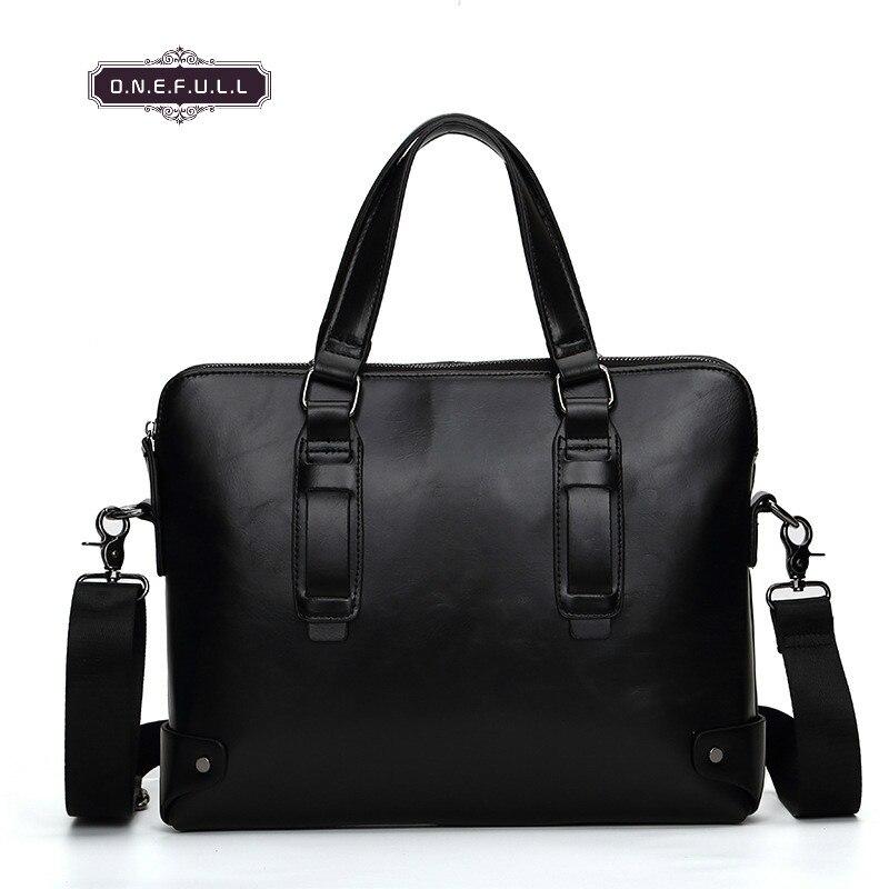 ONEFULL NEW QUALITY Vintage Pu Leather Shoulder Bag Men Designer Bags Black Brown Briefcase Retro Zipper Shoulder Bags Brand