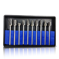 10pcs Tungsten Steel Milling Cutter Drill Grinding Head Double Texture Rotary Rasp Drill Set For Wooding