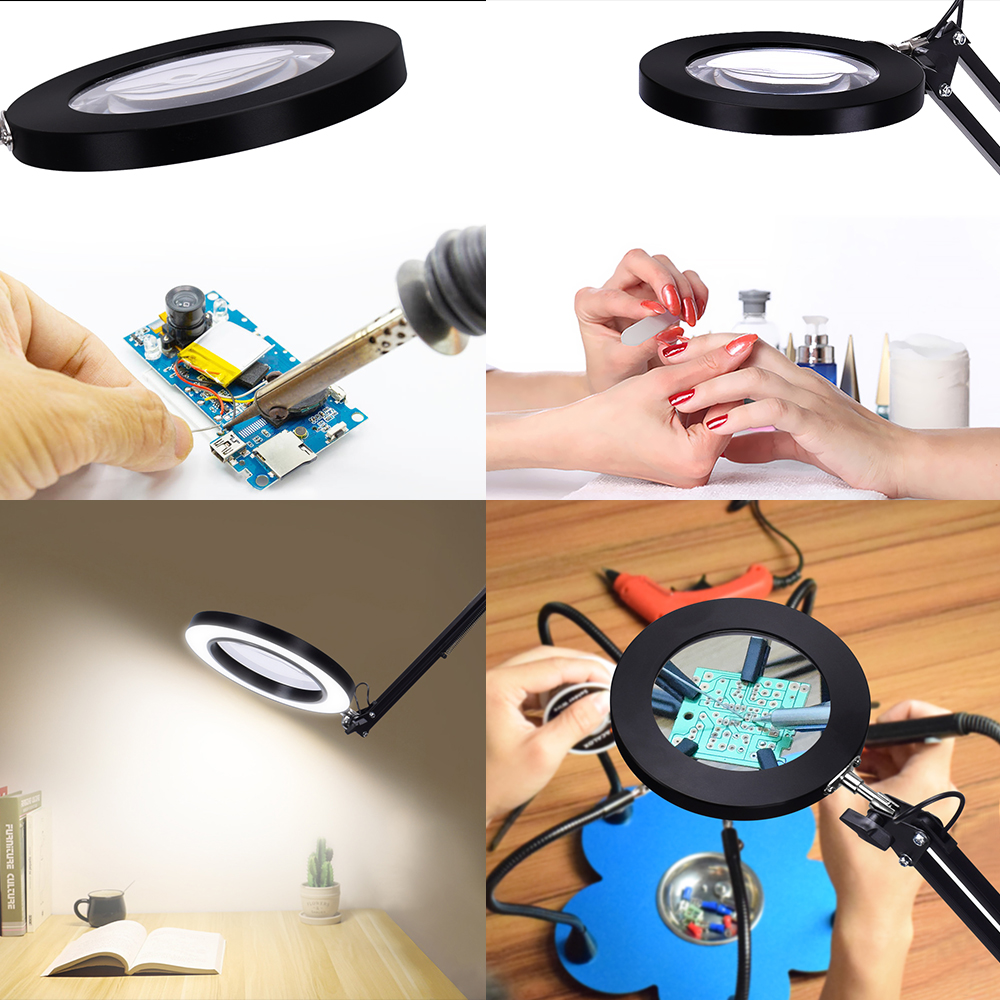 Image 5 - NEWACALOX 5X USB Magnifying Glass with LED Light Flexible Table Clamp Third Hand Soldering/Reading/Jewelry Magnifier Desk Lamp-in Magnifiers from Tools