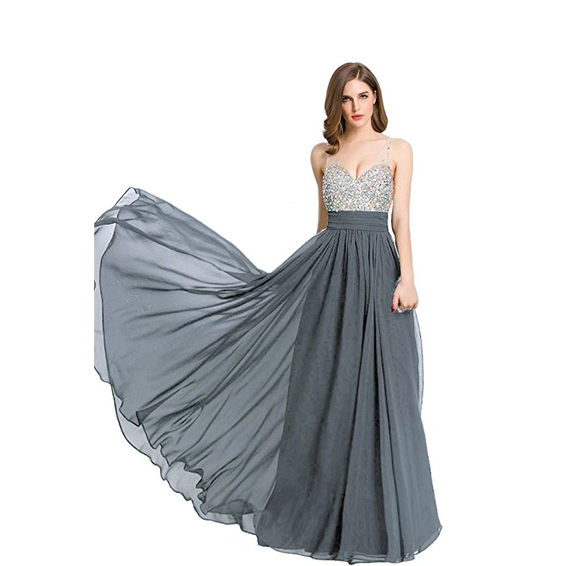 V-neck   Prom     Dresses   Sleeveless Diamonds Top Chiffon Skirt Long Formal Party   Dresses   Gray Black Burgundy Color vestidos de formal