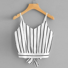 2019 Sexy Women Crop Tops Striped Tie Back Cami Casual Spaghetti Strap Bow Vest Knot Cropped Tank Tops Vest Cropped Feminino