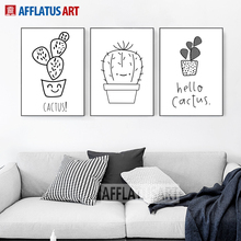 AFFLATUS Black White Cactus Canvas Painting Nordic Poster Wall Art Posters And Prints Pictures For Living Room Kids Decor