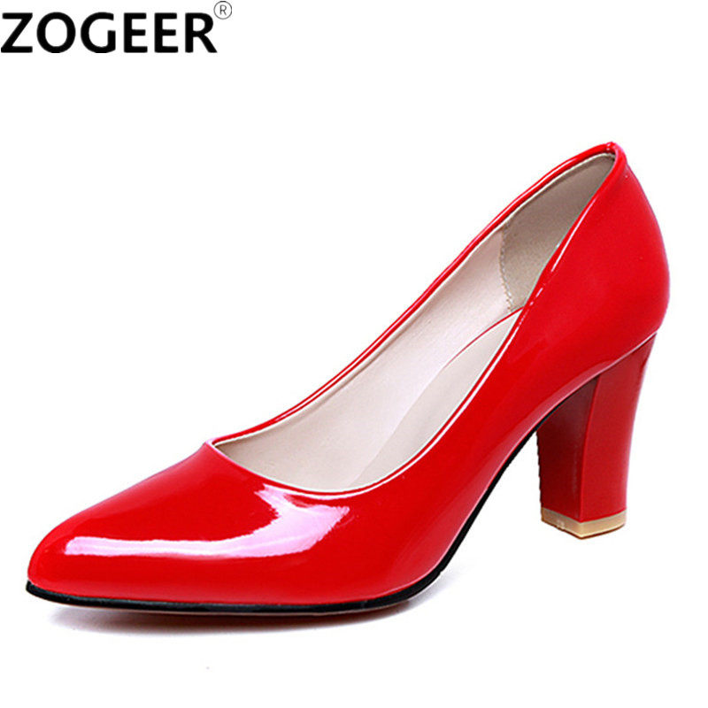 Plus size 46 2019 Hot Spring Classic Women Pumps Fashion High Heel Red nude  Office Wedding 07c05703428d
