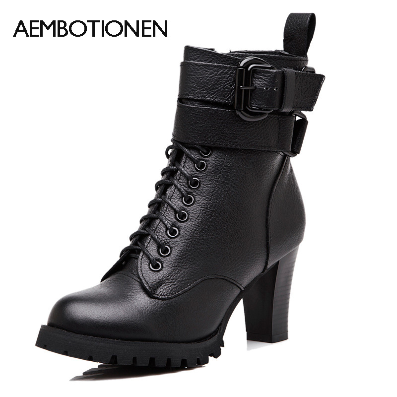 2016 New Autumn/Winter Women Ankle Boots Black Martin Boots British High Heels Lace Up Leather Short Booties Motorcycle Boots
