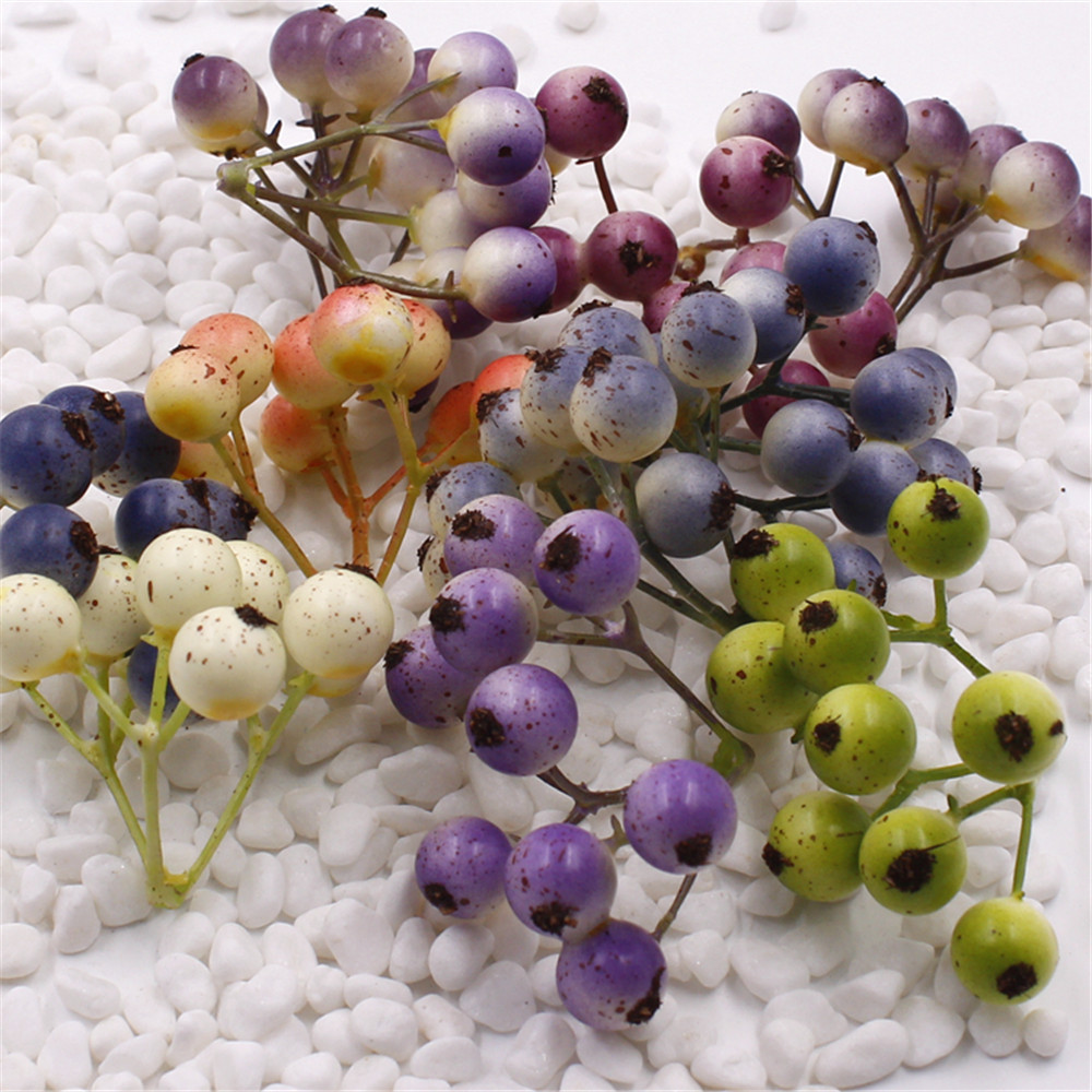 9pcs Fake  Fruit Small Berries Artificial Flower Multicolor Cherry Stamen Pearlized Wedding Christmas Decorative