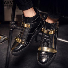 Eur39-46 Punk Style Show Stage Black Ankle Booties Gold Metal Men Leather Flats Winter Hip Hop Dancing Shoe Sapatos Masculinos