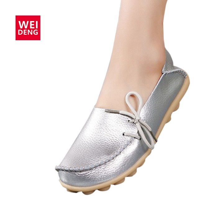 WeiDeng Spring Women Genuine Leather Flat Gommino Moccasin Loafers Casual Ladies Slip On Cow Driving Fashion