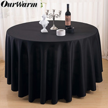 OurWarm 90/108/120inch Wedding Table Cover Satin Round Tablecloth Modern Event Party Hotel Decoration White Black