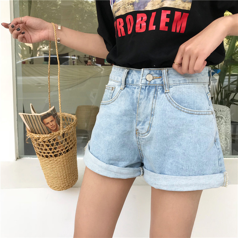 2018 Summer New Womens Shorts Foundation High-waisted Loose Thin Curly Straight Shorts Denim Shorts Women