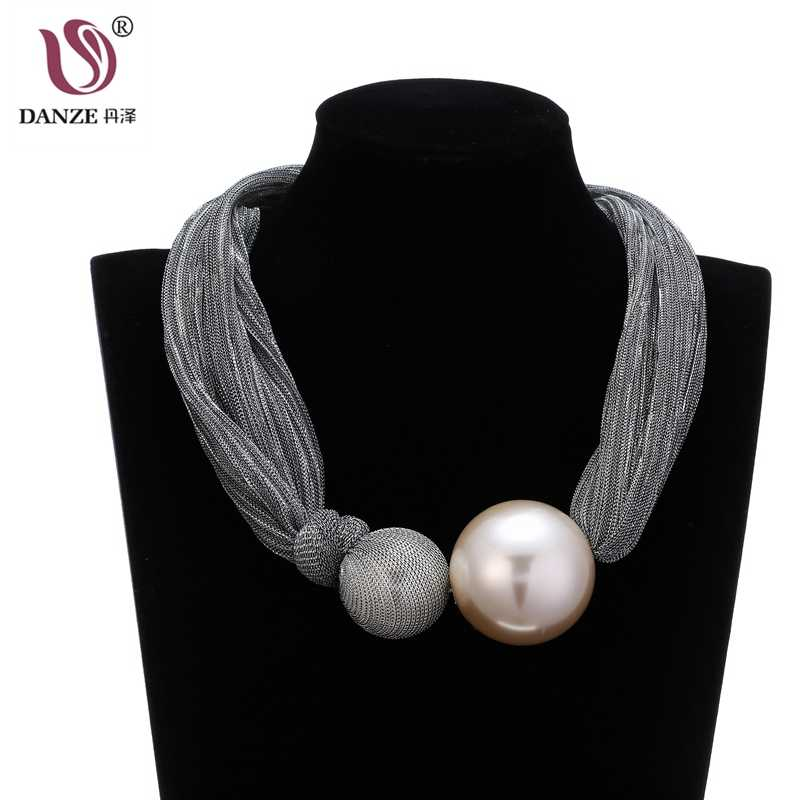 DANZE Exaggerated Big Simulated Pearl Ball Pendant Necklace For Women Gothic Bling Gauze Rope Statement Jewelry Punk Chokers