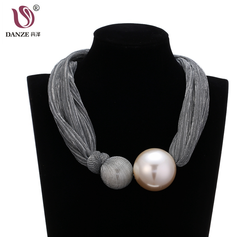 DANZE Exaggerated Big Simulated Pearl Ball Pendant Necklace For Women Gothic Bli