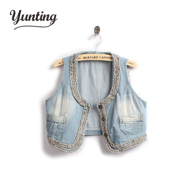 Women's Retro Washed Sleeveless Personalized Cardigan Jeans Denim Vest Waistcoat Coat Jacket,free  Size, Free Shipping