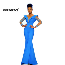 Doragrace robe de soiree New Design Mermaid Prom Gowns Long Sleeveless Evening Dresses Dubai