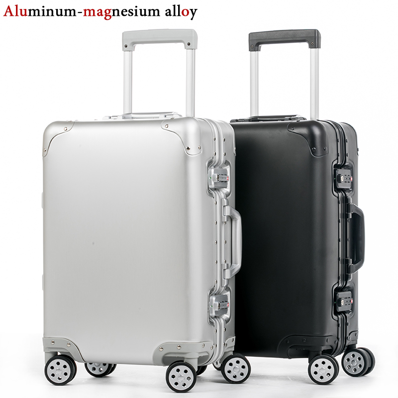 20'' 24'' 29'' 100% Aluminum Luggage Suitcase Travel Trolley Rolling Spinner Hardsider Carry On Luggage Suitcase Cabin Case travel aluminum blue dji mavic pro storage bag case box suitcase for drone battery remote controller accessories