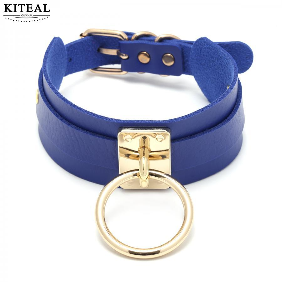 Kiteal Newest Arrival Personality Punk Sexy Exaggerated Pu Metal Buckle Hoop Necklaces Cool Girl Charming Jewelry Accessories