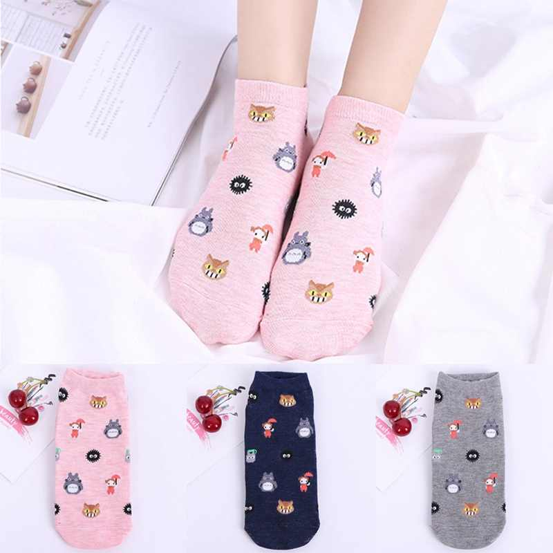 Cute Cartoon Totoro Socks Spirited Away Ghibli Miyazaki Anime Women Socks Harajuku Summer Totoro Stripes Funny Ankle Socks
