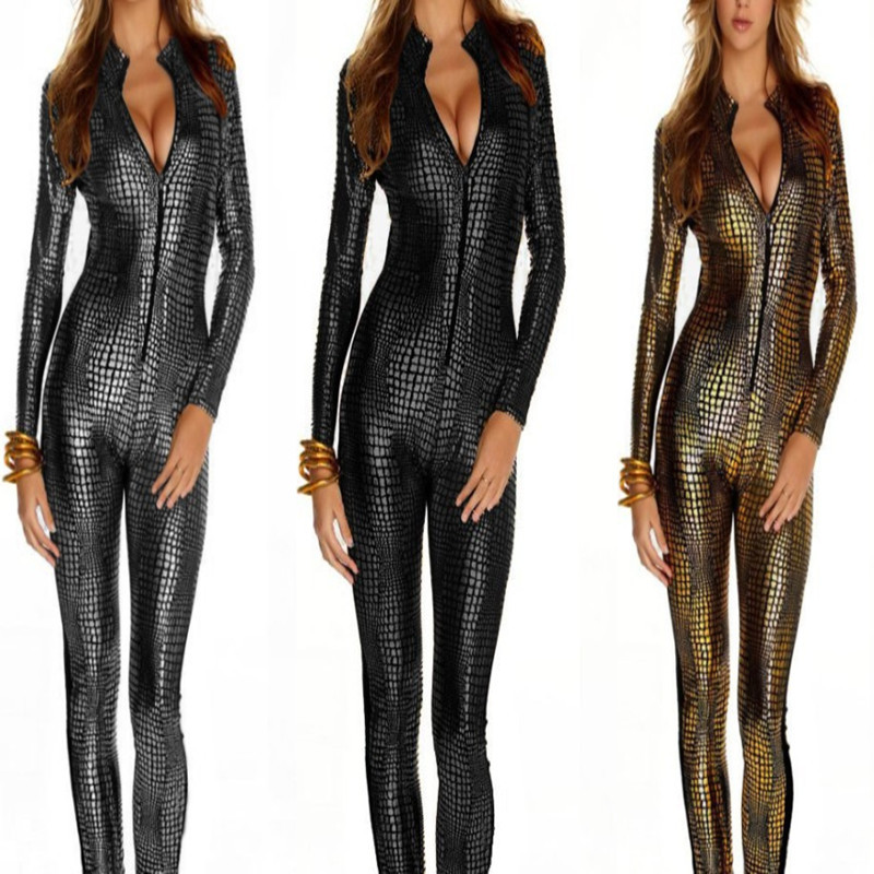 Women Faux Leather Catsuit Erotic Wet Look Bodycon Sexy Clubwear Jumpsuit Costume