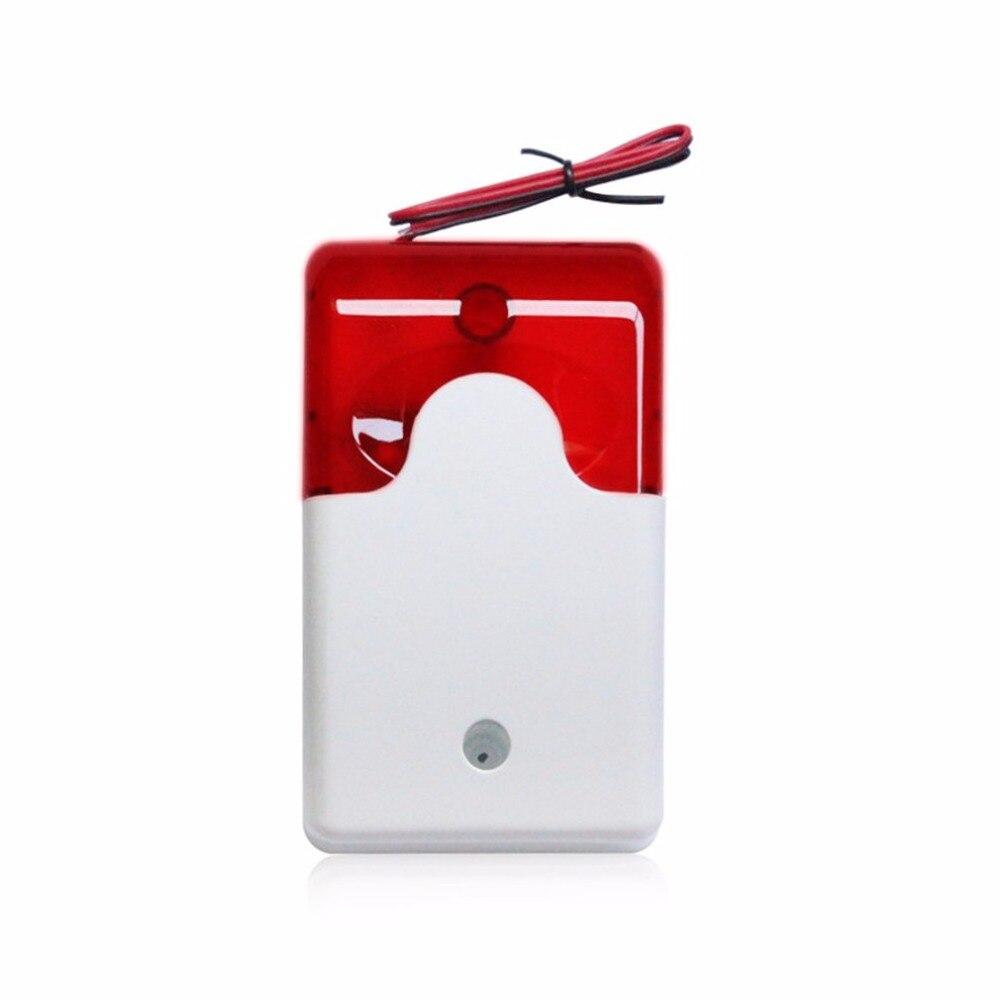 Wired Strobe Siren Practical Alarm Strobe 12V Flashing Red Light Sound Siren Home Office Security Alarm System 110dB