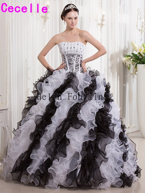 b6006fb81e49 Preto E Branco vestido de Baile Vestidos Quinceanera Querida Frisado Babados  com Estampa de Zebra Meninas