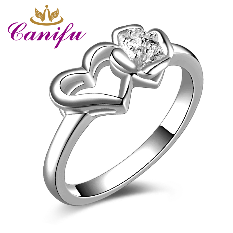 Canifu New arrival Unique Design Heart and Flower Ring With Cubic Zirconia AAA Noble Wedding Jewelry for Women