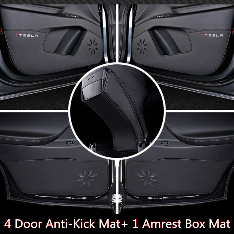 Car Door Anti-Kick Protect Pad for Tesla Model X 2016 2017 Anti-Dirty Mat Anti Prevent Armest Box Pad Cover for Tesla Model X