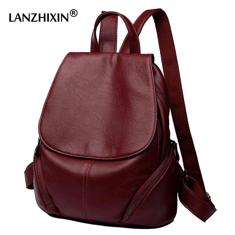 4b078bf5dd2b Lanzhixin женские кожаные рюкзаки для женщин винтажные дорожные школьные  сумки для колледжа девочек рюкзаки Большой Студенческий