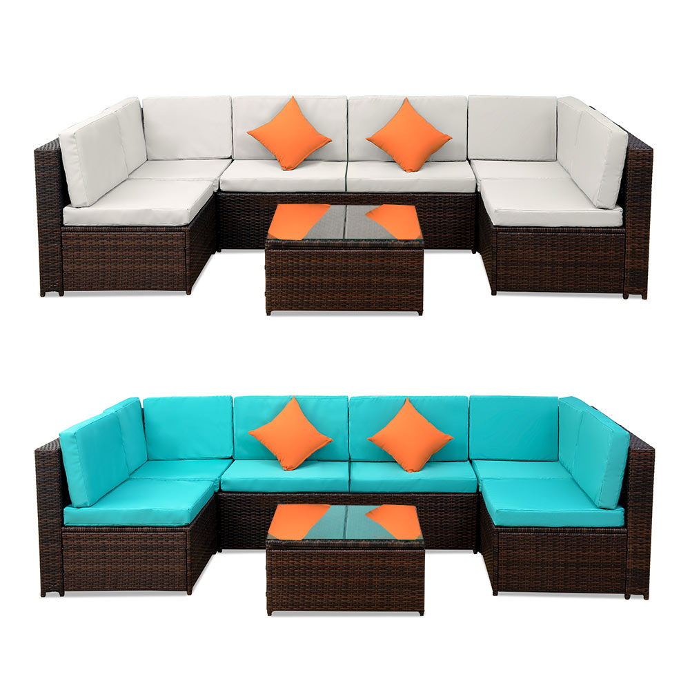 7 Seats Patio Furniture Sofa Set Wicker Chair For Outdoor Yard Swimming Pool Beach Garden Furniture Outdoor Rattan Sofa Set
