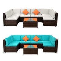 7 Seats Patio Furniture Sofa Set Wicker Chair For Outdoor Yard Swimming Pool Beach Garden Furniture Outdoor Rattan Sofa Set