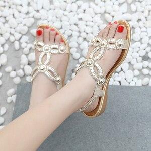 Image 5 - BEYARNE sandalias para mujer con cuentas de flores y diamantes de imitación, zapatos de verano, calzado de verano, estilo europeo, diamantes de imitación, talla grande