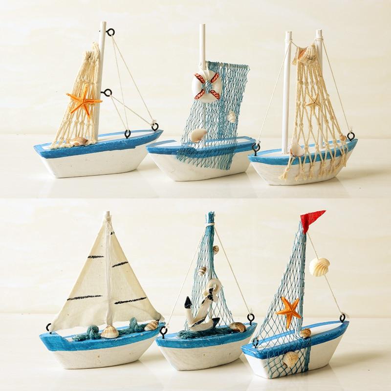Mediterranean Wooden Model Ships Micro Landscape Sailing Fishing Boat Garden Miniature Figurines DIY Nautical Home Decoration