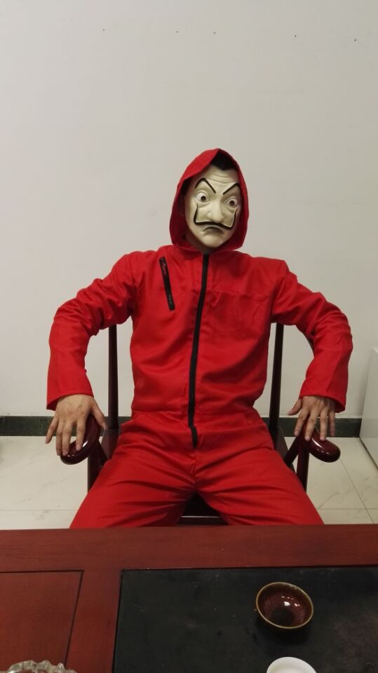 2018 Salvador Dali Movie Costume Money Heist The House of Paper La Casa De Papel Cosplay Halloween Party Costumes with Face Mask