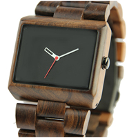 Black Sandalwood Men Quartz Wristwatch Square Black Simple Dial Watches Wood Casual Fashion Relogio Masculino 2018 Retro Design