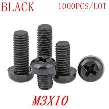 1000 шт оптом M3 * 10 M3x10 черный нейлоновый пластиковый круглый болт