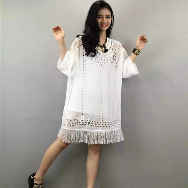 ea08683c7303 Summer style 2018 Vestidos Hollow Fringed dress Fashion Casual Loose  Chiffon dress / Embroidered White Summer dress Women